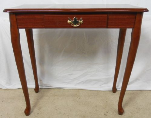 Narrow Mahogany Side Table with Lacquered Polish Finish